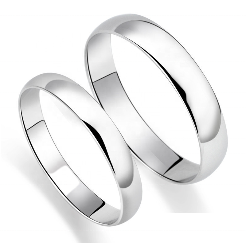Wholesale High Polish Plain Jewelry 925 Sterling Silver Couple Ring Wedding 2/3/4/5 MM Ring