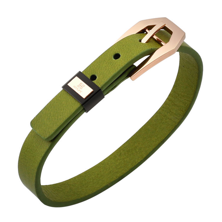 Wholesale Bulk Custom Green Fashion Genuine Leather Bracelet For Men Jewelry