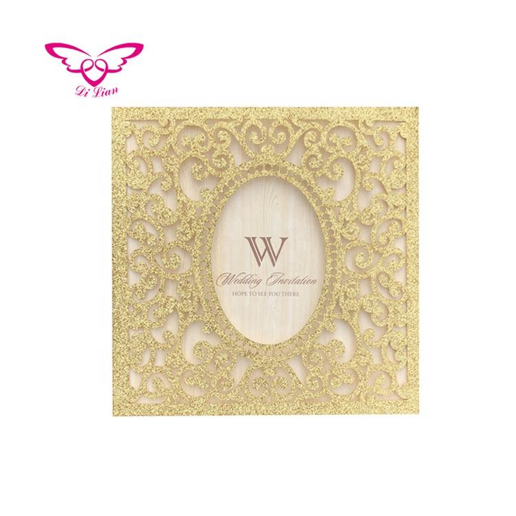 Laser Cut Gold Glitter Paper Wedding Invitation Card