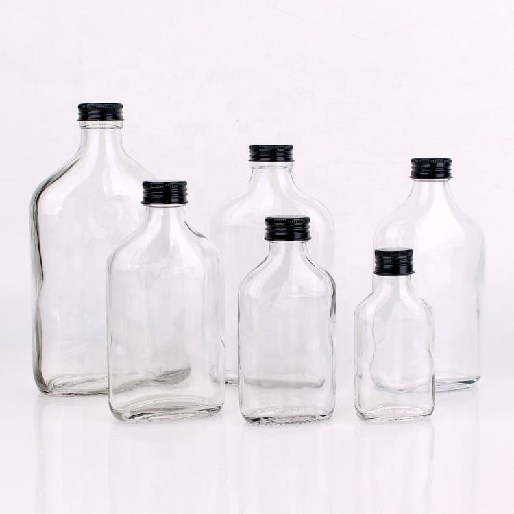 50ml 110ml 200ml clear flat wine glass bottles for brandy with screw top lids