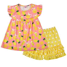 Hot sale summer fruit theme baby clothing set lemon print girls outfits wholesale flutter clothes ruffle shorts