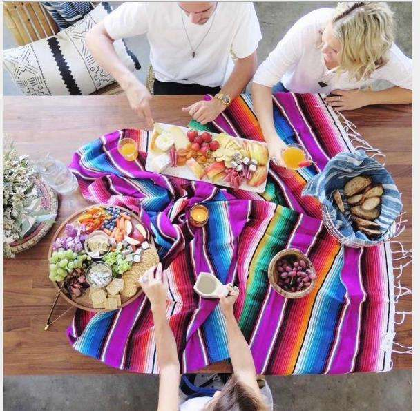 Beach Blanket mat Outdoor Portable travel Picnic barbecue camping Ground mats cotton Mexican handmade rainbow blanket