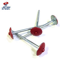 Prepainted Umbrella Head Roofing Nails Screw Ring Nails With Rubber Washer Durable In Use
