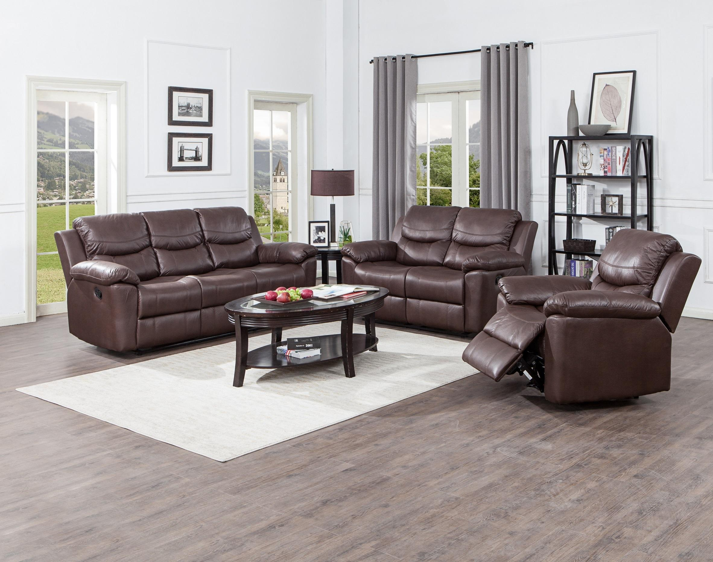 Comfortable soft living room 3+2+1 leather manual recliner sofa