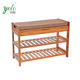 2-Tier Bamboo Modern Antique Wooden Covered Shoe Rack With Cushion Upholstered Padded Seat Storage Bench Shelf