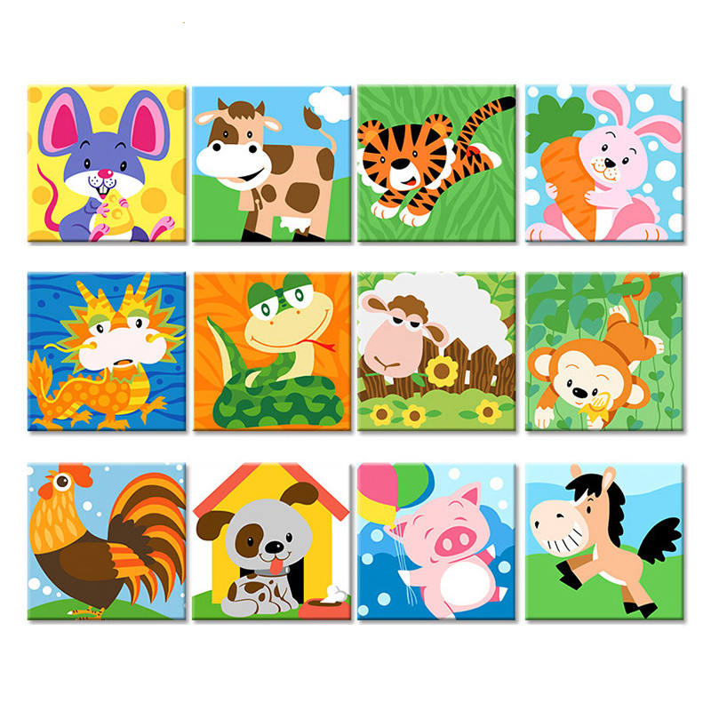 CHENISTORY Kids Image DIY Painting By Numbers Cartoon Animals Modern Acrylic Kit Calligraphy Painting For Children 20x20cm