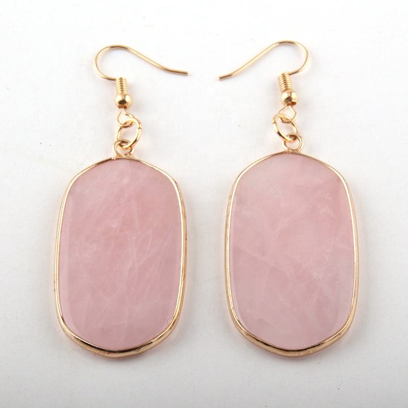 Classic Trend Women natural stone Gemstone earring,Fashion Pink quartz Earring