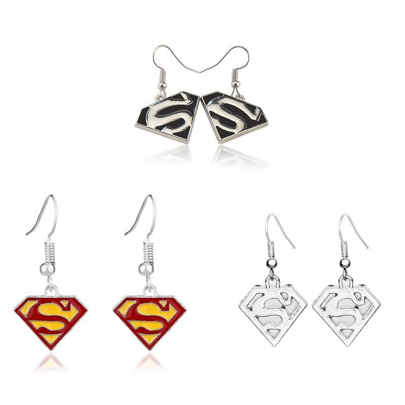 Fashion Avengers Superhero Anting-Anting Enamel Superman Anting-Anting Perhiasan Tubuh