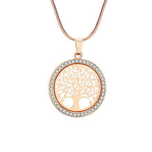 Hot Tree of Life Crystal Round Small Pendant Necklace Gold Silver Colors Bijoux Collier Elegant Women Jewelry Gifts Drop NS91125