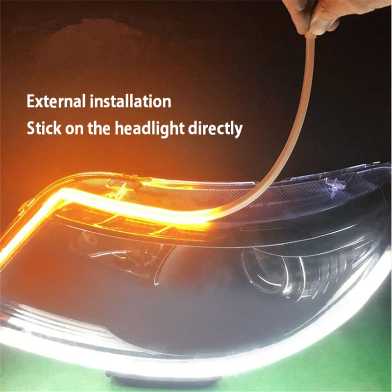 Dual colors car auto 60cm 45cm 30cm drl led daytime Led strip swichback daytime running light lamp following flexible drl