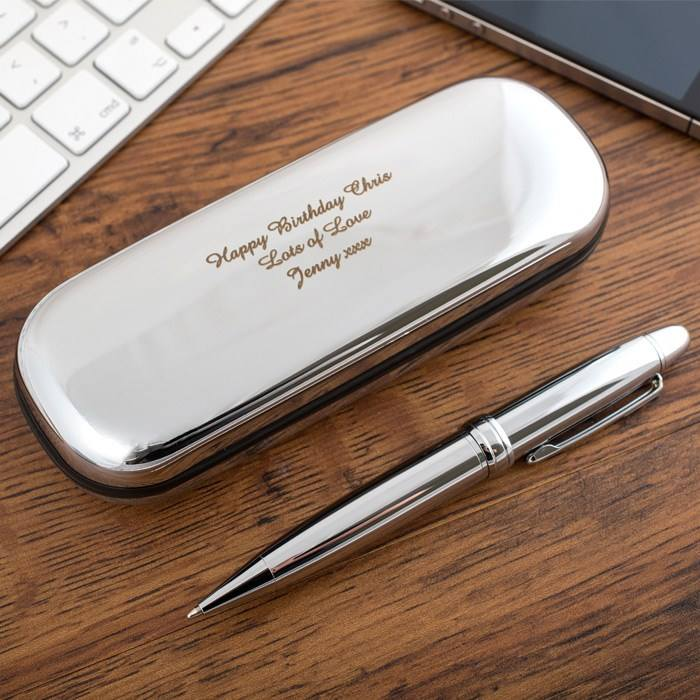 luxury custom engraved logo chrome shinning silver bright glass surface brass metal ball point pen