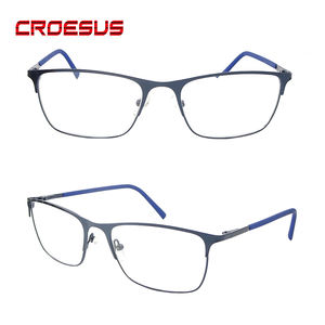 China manufacturers custom made selected lens metal hinge two-tone Rubber reading glasses