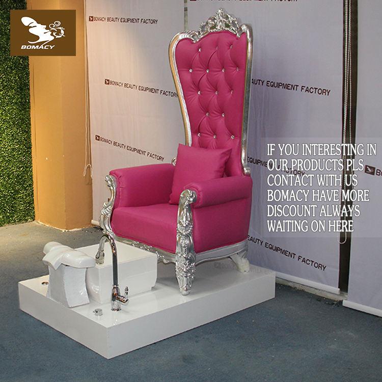 Bomacy-Sıcak pembe manikür tırnak salonu sandalye ile ahşap spa pedikür koltuğu