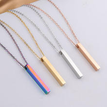 Personalised Name Custom Necklace Fashion Customized Stainless Steel Thin Vertical Bar Pendant Chain Necklace For Women