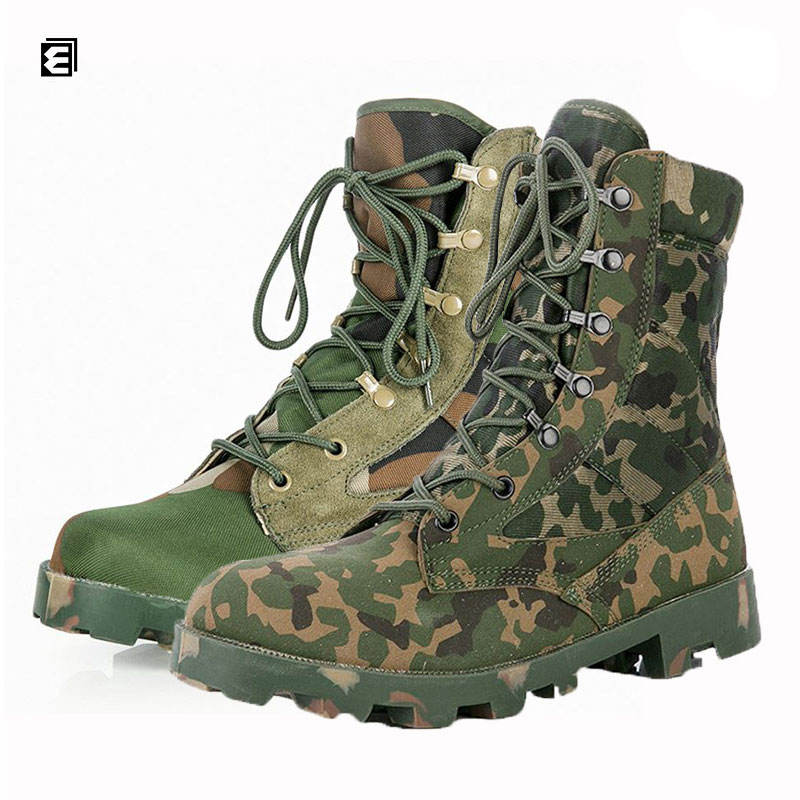 Fashion Style Green Jungle Army Strong Military Camouflage Boots