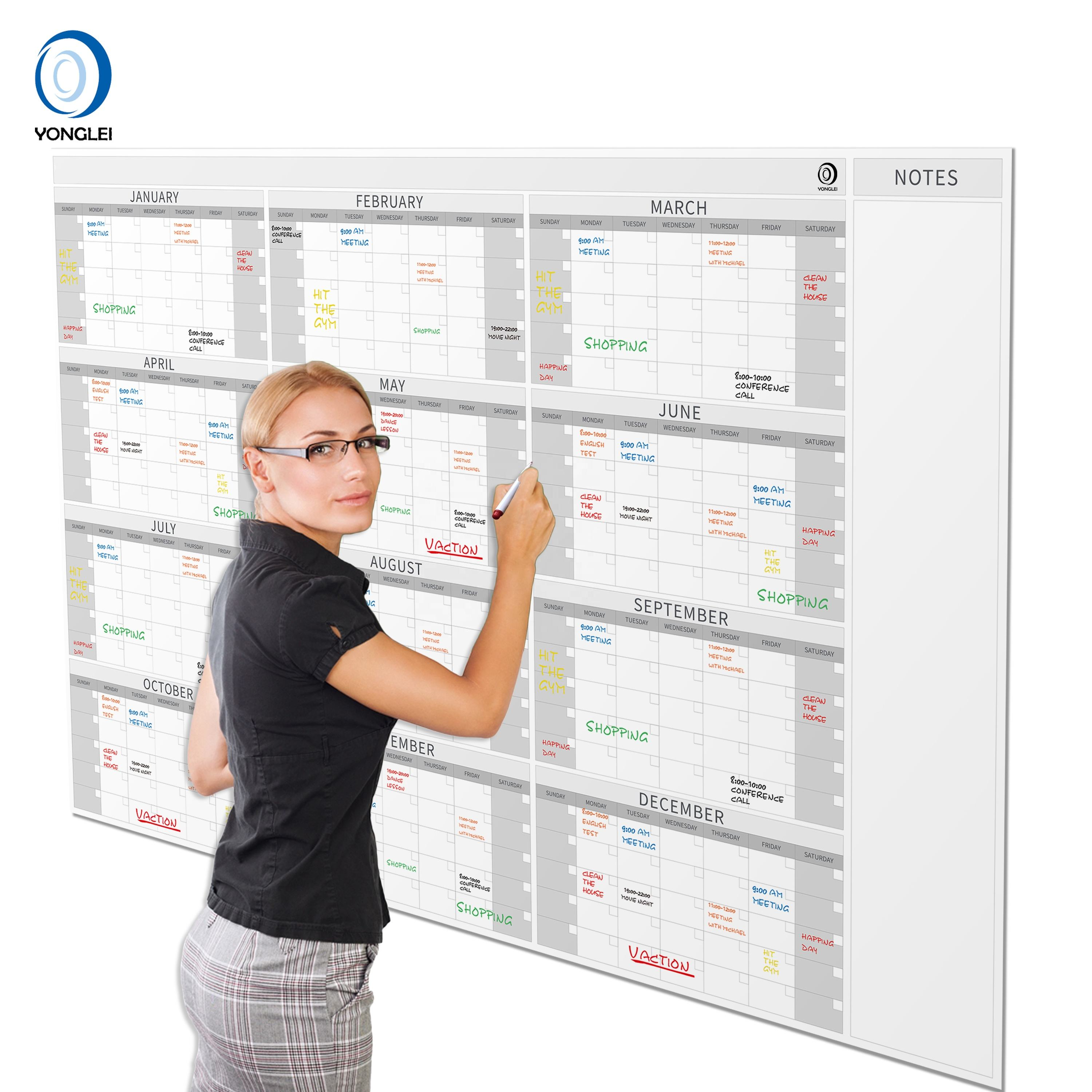 015-3A2 Dry erase yearly planner calendar monthly calendar printing custom