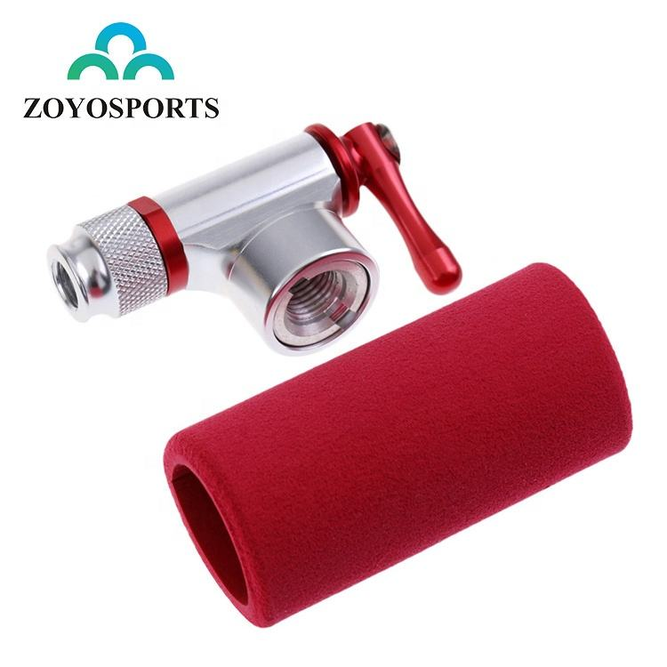 ZOYOSPORTS Mini Cycling Bicycle CO2 Inflator Head With Insulated Sleeve Set Alloy Bike Tire Air CO2 Pump