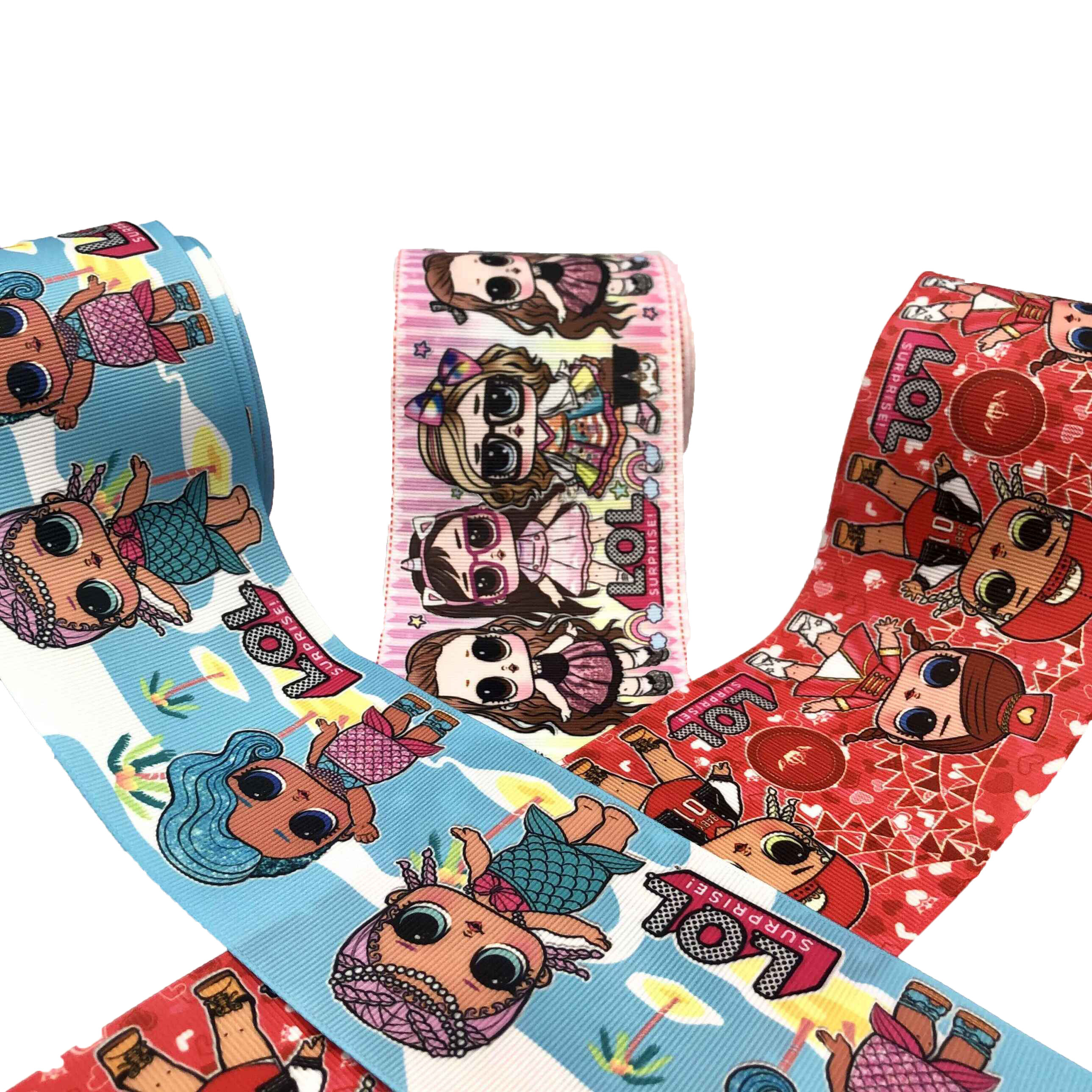 3 inch wide 75 mm doll girl character Printed grosgrain ribbon