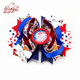 4th of July Stripe Glitter Print Bowknot 3.5'' 4.5'' 5'' Double Layer Hair Bow