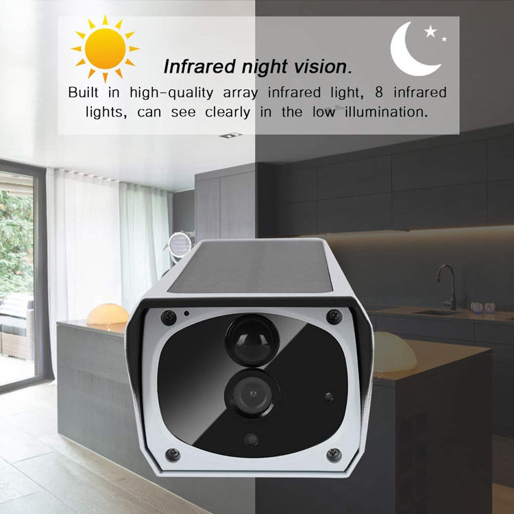 [ Powered Camera Wifi Battery ] Solar Powered Wireless Camera WiFi IP Security Solar CCTV Camera Built In Rechargeable Battery SD Card Storage IP67 Waterproof