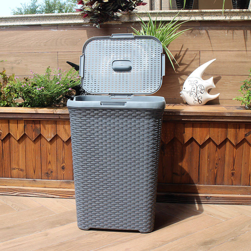 Good quality hot sale PP large plastic wicker 60 L laundry basket with lid