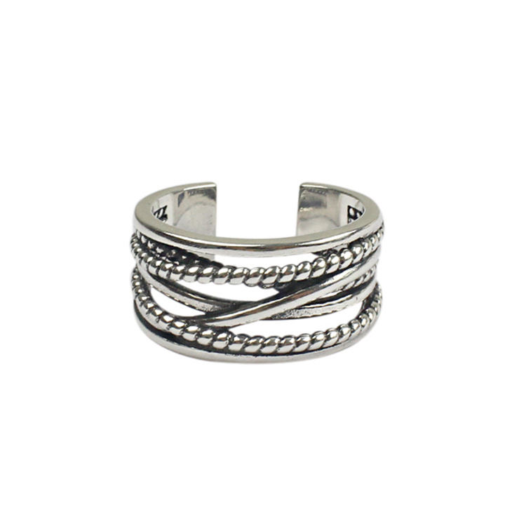 Sterling zilveren ring Koreaanse versie van de originele ring multi-layer retro opening
