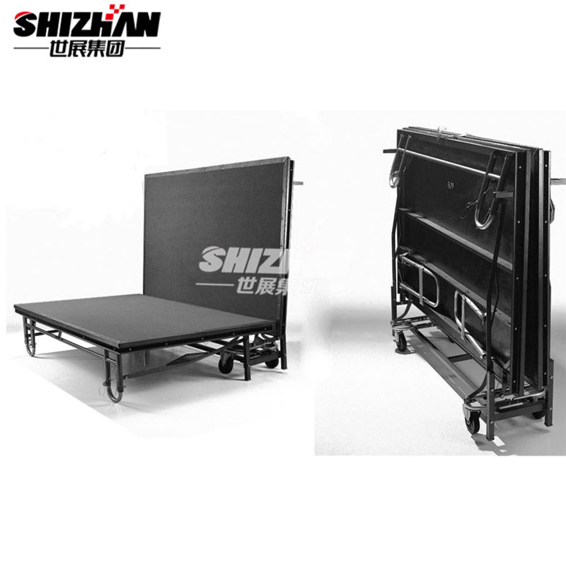 Folding portable stage with wheels for events