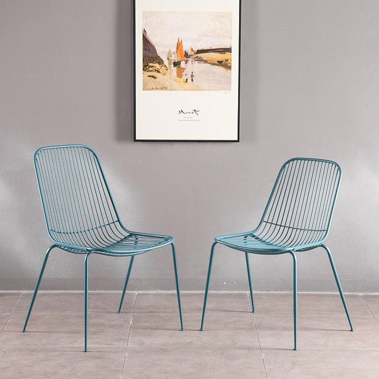 Blau Restaurant Stuhl Mit Zurück Armless Draht Stühle Freizeit Bertoia Draht Eisen Seite Stuhl