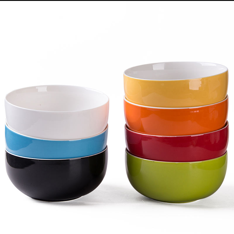 Chinese style high quality porcelain round glazed 7 colors home ceramic rice/noddle/soup 600ml bowls