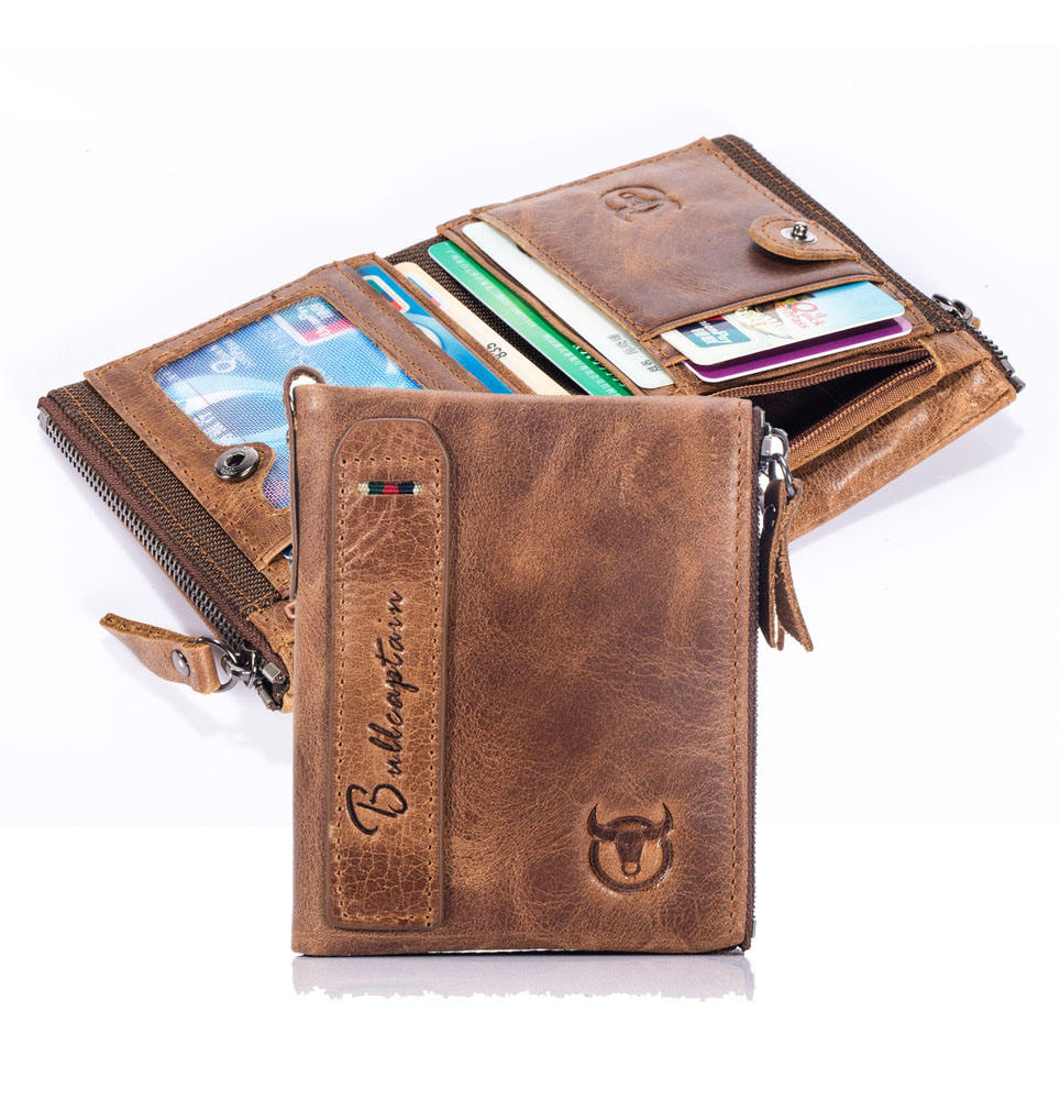 casual short folding multi-function photo driving license men genuine leather wallet