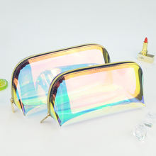 Holographic Makeup Bag Iridescent Cosmetic Bag TPU Toiletry Pouch Clutch Travel Storage Pouch For Women