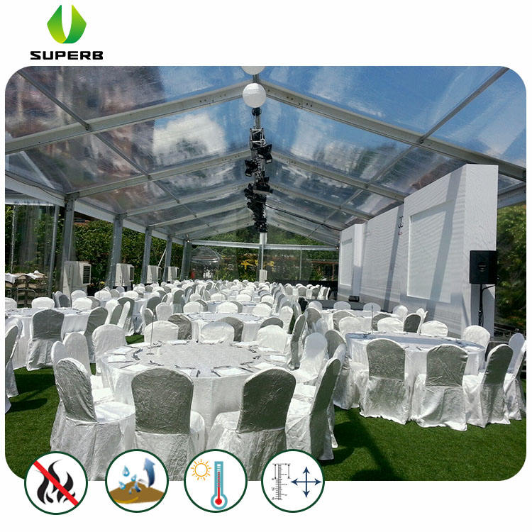Sale Transparent Glass Marquees with Flooring and Lighting
