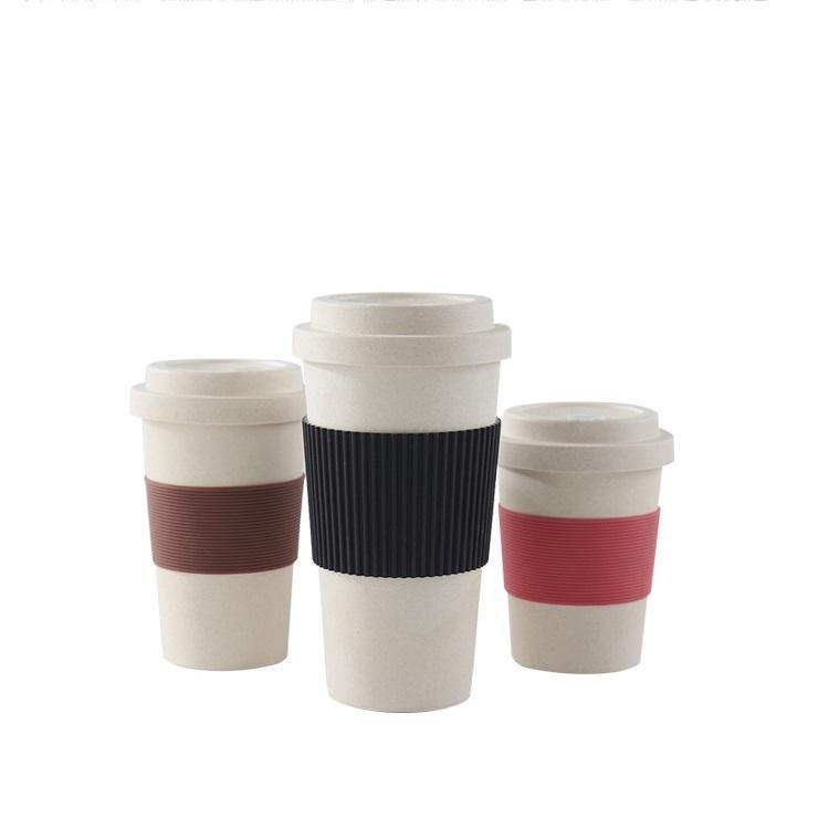 Hausgemachtes Bambusmaterial und Trinkgefäße aus abbaubarer Bambusfaser-Kaffeetasse mit Deckel und Hülle