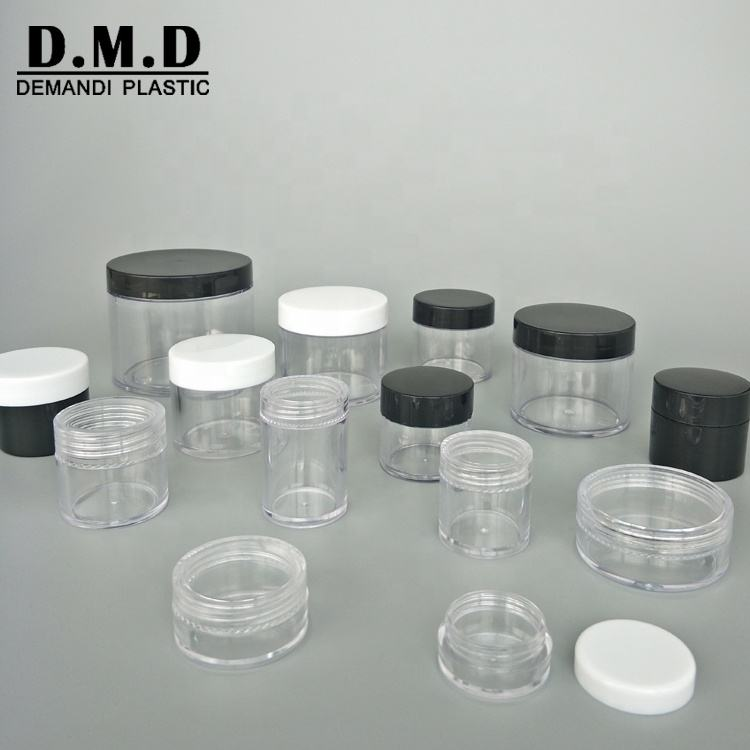 5g 5ml 10g 10ml 15g 20g 25g 30g 60gram 120ml plastic empty clear transparent cosmetic acrylic powder jar with silver lid