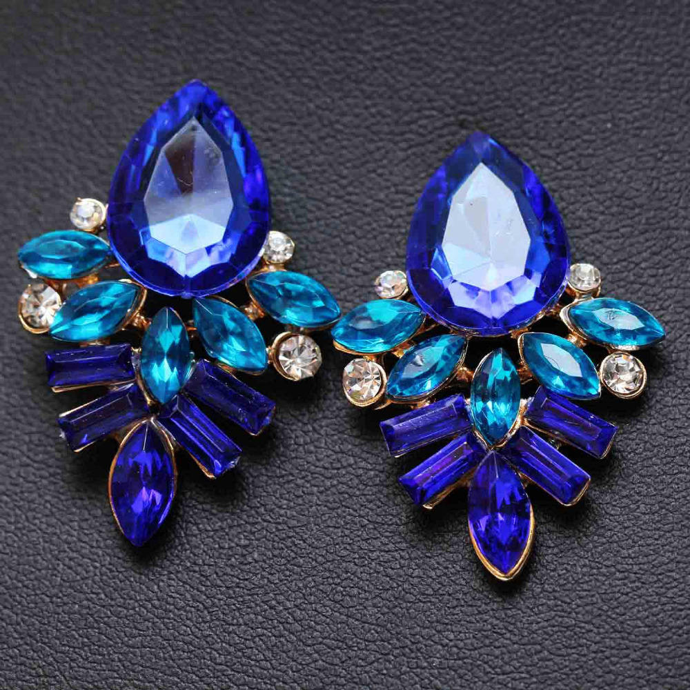 2019 NEW Women Fashion Jewelry Style Blue/Black/Pink Earrings Handmade Rhinestone sweet stud crystal Dangle earrings for women