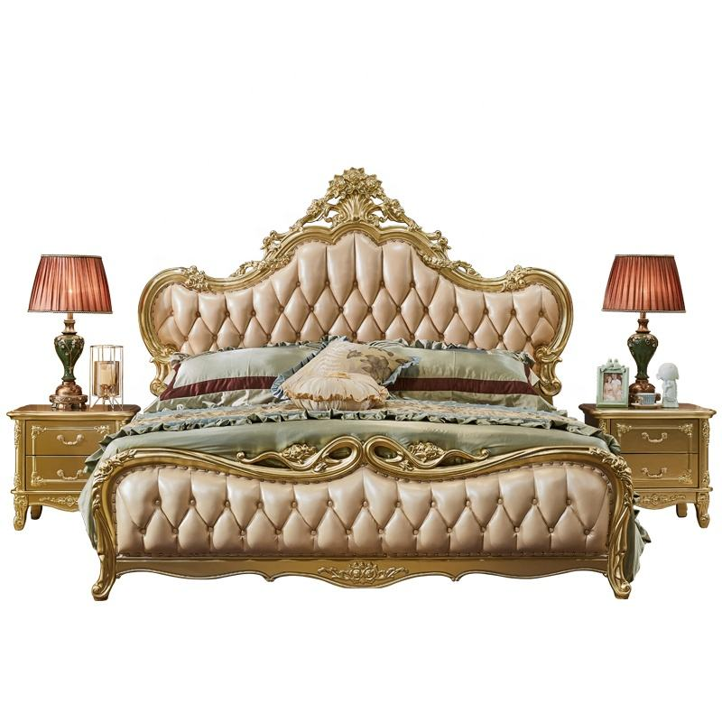 Fancy bed furniture wood carving Leather bedroom furniture comfortable for home wholesale price bedroom furniture wood carving