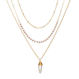 Nieuwe Bohemen Multi Layer Violet Kralen Kralen Chain Raw Crystal Quartz Stone Choker Strand Ketting