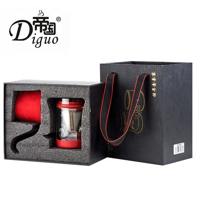 Diguo 2019 New 200ml Portable Stainless Steel Kettle + Pyrex Glass Cup Hand Drip Bag Coffee Tea Gift Set