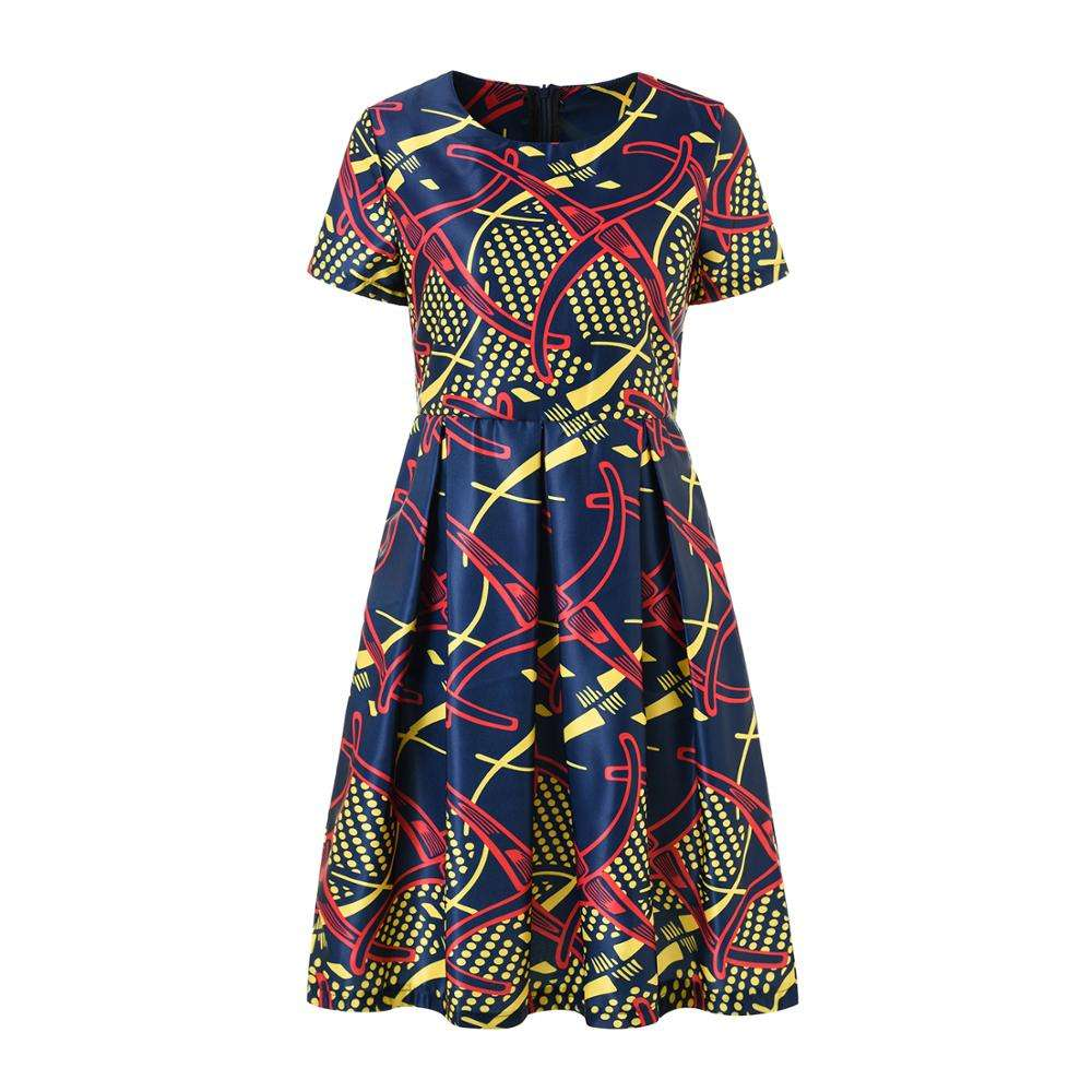 H & D New arrival African Print Designs Summer Casual Mini Dress Women Party Dresses