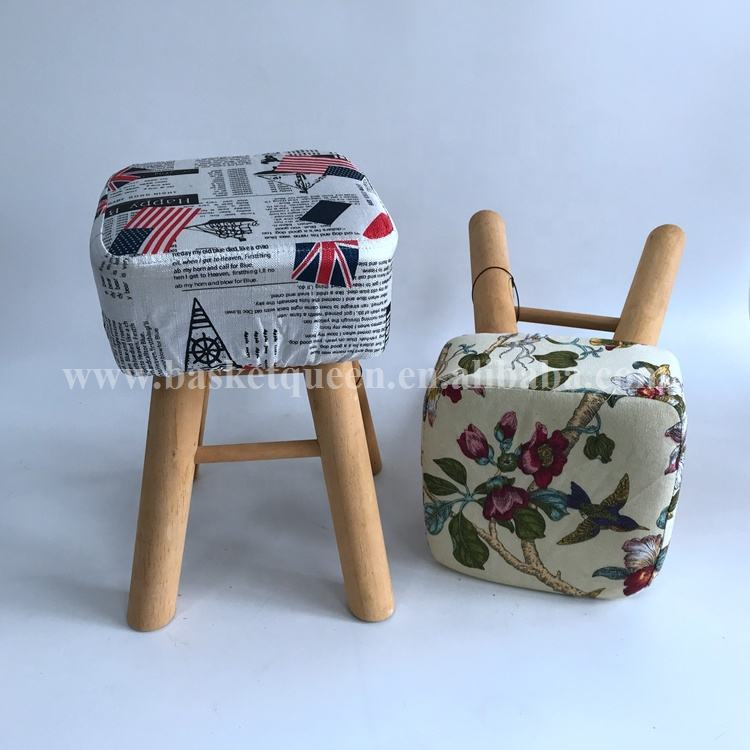 Modern popular pretty cloth shoe stool kids footstool with wooden legs