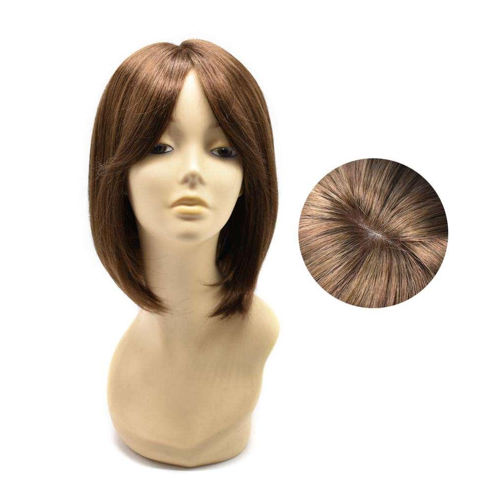 Monofilament Top Cap Bau Spitze Haarperücken, synthetische kurze Bob Perücken braune Farbe Hochtemperaturfaser