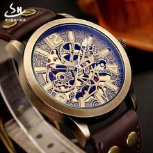 Shenhua 09 men Automatic Mechanical Watches Vintage Bronze Skeleton Watch Men Automatic Winding Watch