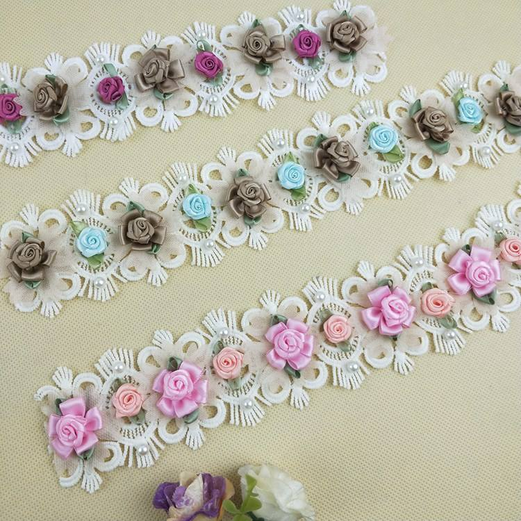 5.5cm multi-color flower pearl beaded waist decoration 3d lace trim