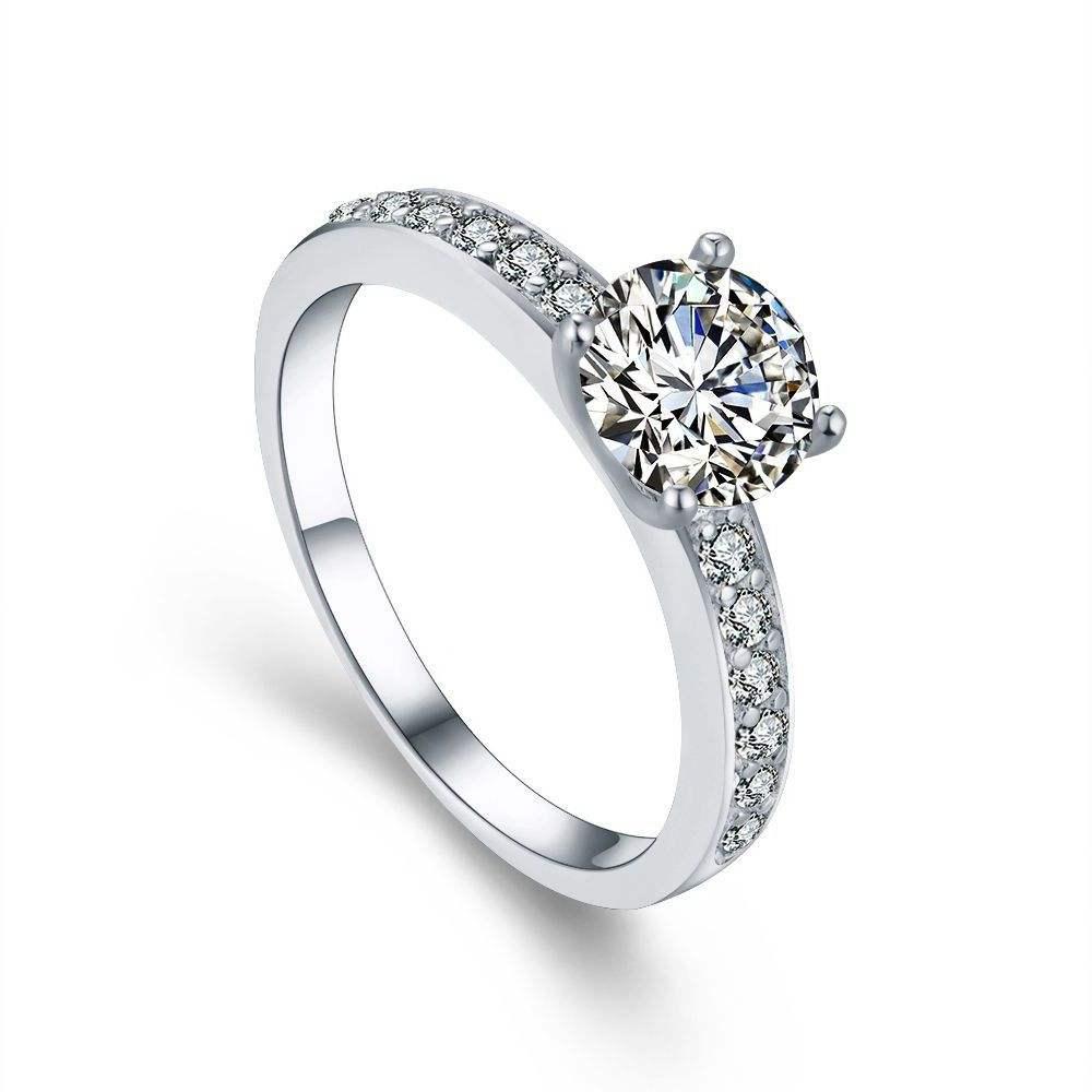 <span class=keywords><strong>Hersteller</strong></span> AAA <span class=keywords><strong>Cz</strong></span> 18 k weiß gold überzogene glanz voller strass prinzessin engagiert ehe hochzeit diamant ringe