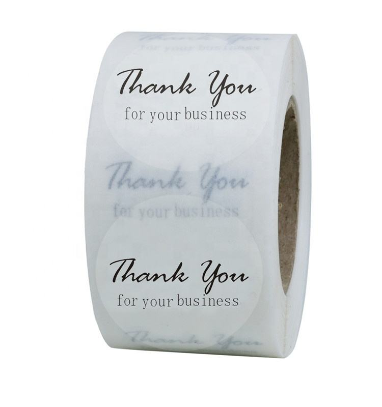 "Hybsk Thank You for Your Business Stickers Clear Transparent Vinyl Label Stickers 1.5"" Round 500 Labels Per Roll"