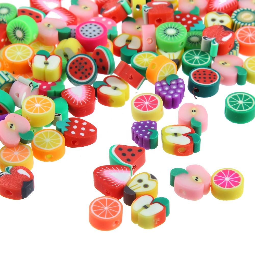 10MM Fruit Beads Polymer Clay Beads Polymer Clay Spacer Beads Mixed Color DIY Jewelry Making