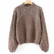Christmas custom Solid color nailing bead knitted pullover women's sexy sweater with pearl knitwear women clothes tops