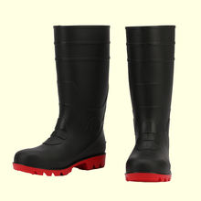 China factory cheap high-ankle rubber waterproof steel toe PVC rain boot