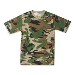 Military short sleeve woodland camouflage T-shirt