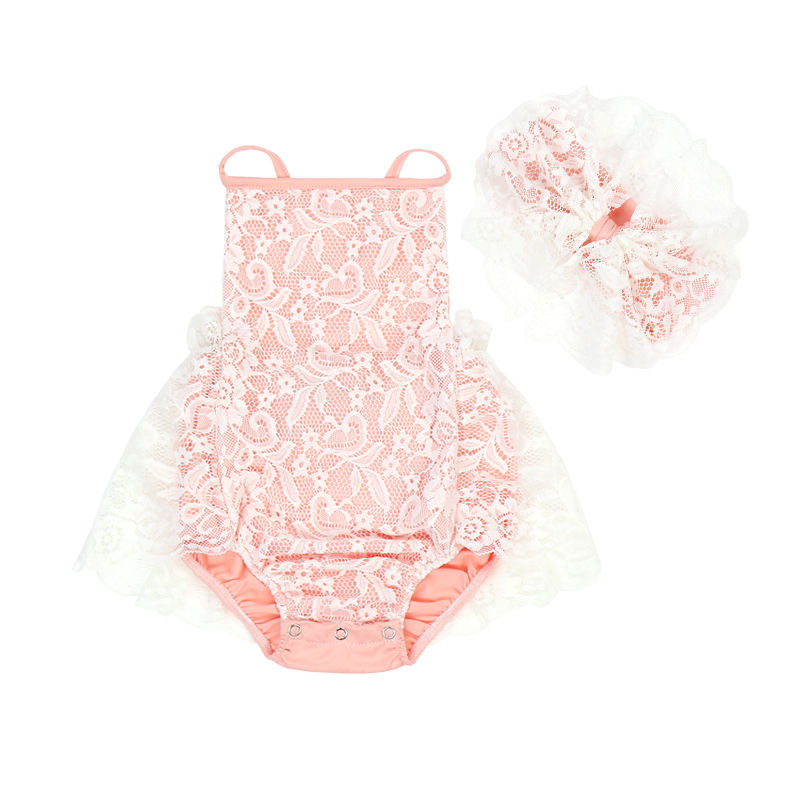 HY-032-YXG Newborn Baby Girl Infant Romper Peach Lace Ruffle Matchingヘッドバンド新生児服